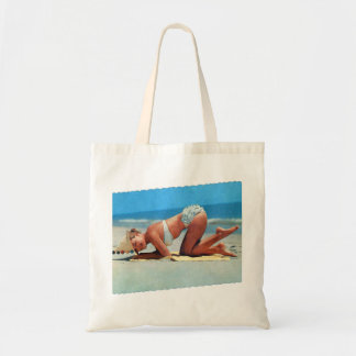 Retro Vintage Kitsch Pin Up Bikini Girl Bottoms Up Tote Bag