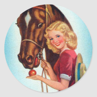 Retro Vintage Kitsch Pin Up Card Cowgirl & Horse Round Sticker