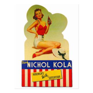 Retro Vintage Kitsch Pin Up Card Nichol Cola Soda Postcard