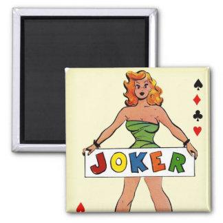 Retro Vintage Kitsch Pin Up Joker Playing Card Square Magnet