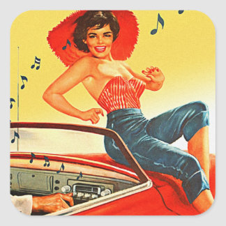 Retro Vintage Kitsch Pin Up Rock N Roll Radio Girl Square Sticker