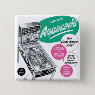 Retro Vintage Kitsch Pinball Aquacade Sales Ad 2 Inch Square Button