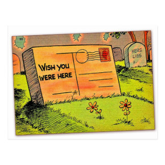Retro Vintage Kitsch Postcard Wish You Were Here