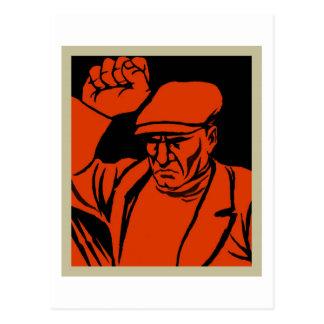 Retro Vintage Kitsch Propoganda Angry Worker Postcard