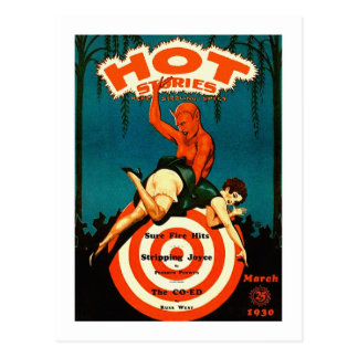 Retro Vintage Kitsch Pulp Hot Stories Magazine Postcard