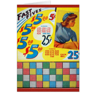 Retro Vintage Kitsch Punch board Gamble Fast Fives Greeting Cards