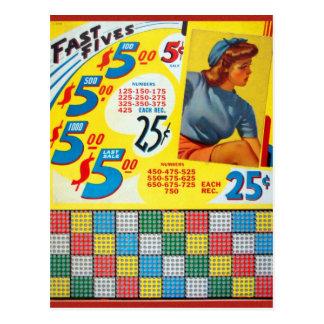 Retro Vintage Kitsch Punch board Gamble Fast Fives Postcard