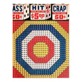 Retro Vintage Kitsch Punch Board Gamble Pass Hit Postcard