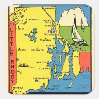 Retro Vintage Kitsch Rhode Island Rhody Decal Square Sticker
