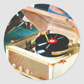 Retro Vintage Kitsch Rock & Roll Record Turntable Round Sticker
