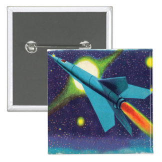 Retro Vintage Kitsch Rocket to Outer Space 2 Inch Square Button