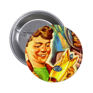 Retro Vintage Kitsch Rockets Outer Space Boy 2 Inch Round Button