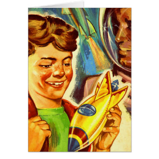 Retro Vintage Kitsch Rockets Outer Space Boy Card