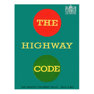 Retro Vintage Kitsch Safety The Highway Code UK Postcard