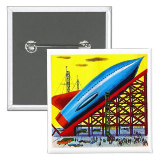 Retro Vintage Kitsch Sci Fi Cartoon Rocket Ship 2 Inch Square Button