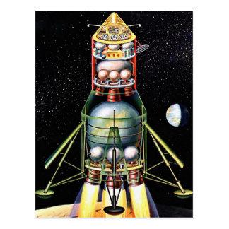 Retro Vintage Kitsch Sci Fi Lunar Module Postcard