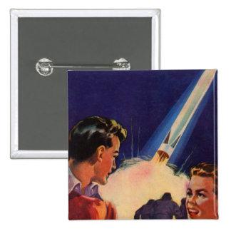 Retro Vintage Kitsch Sci Fi Rocket Blast Off Boys 2 Inch Square Button