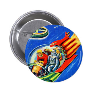 Retro Vintage Kitsch Sci Fi Space Travel Spaceship 2 Inch Round Button