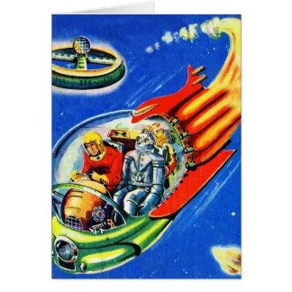 Retro Vintage Kitsch Sci Fi Space Travel Spaceship Card