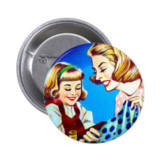Retro Vintage Kitsch Sewing Sew & Stich Needles 2 Inch Round Button