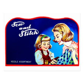 Retro Vintage Kitsch Sewing Sew & Stich Needles Postcard