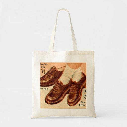 Retro Vintage Kitsch Shoe Kid's Shoes Catalog Art Canvas Bag