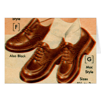 Retro Vintage Kitsch Shoe Kid's Shoes Catalog Art Greeting Card