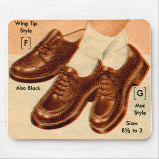 Retro Vintage Kitsch Shoe Kid's Shoes Catalog Art Mouse Pad