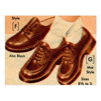 Retro Vintage Kitsch Shoe Kid's Shoes Catalog Art Postcard