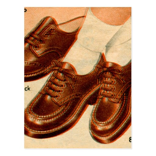 Retro Vintage Kitsch Shoe Kid's Shoes Catalog Art Postcards