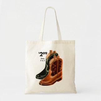 Retro Vintage Kitsch Shoes Kid s Cowboy Boots Art Canvas Bags