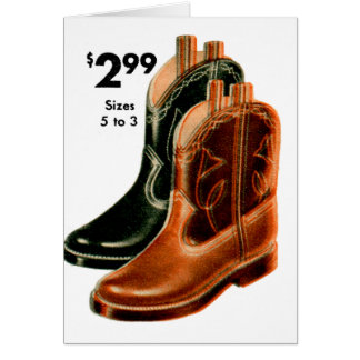 Retro Vintage Kitsch Shoes Kid s Cowboy Boots Art Greeting Card