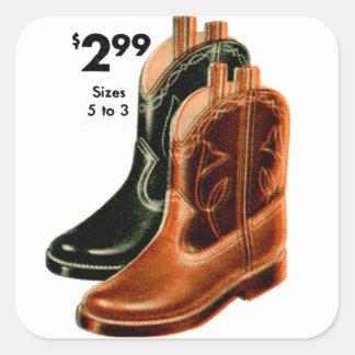 Retro Vintage Kitsch Shoes Kid s Cowboy Boots Art Sticker