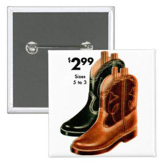 Retro Vintage Kitsch Shoes Kid's Cowboy Boots Art Pinback Buttons