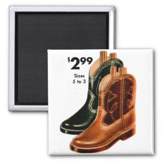Retro Vintage Kitsch Shoes Kid's Cowboy Boots Art Refrigerator Magnets