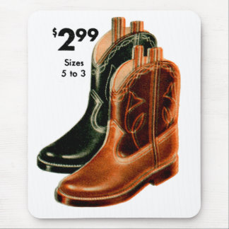 Retro Vintage Kitsch Shoes Kid's Cowboy Boots Art Mouse Pad