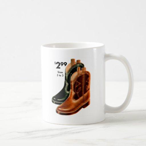 Retro Vintage Kitsch Shoes Kid's Cowboy Boots Art Coffee Mug