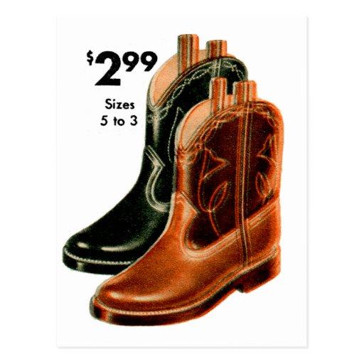 Retro Vintage Kitsch Shoes Kid's Cowboy Boots Art Postcard