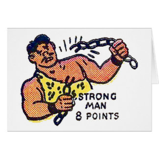 Retro Vintage Kitsch Sideshow Character Strong Man Card