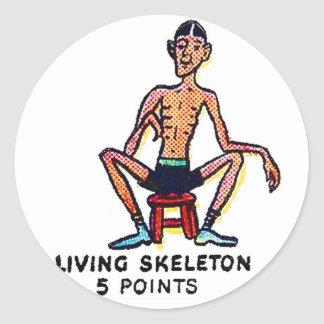 Retro Vintage Kitsch Sideshow 'Living Skeleton' Round Sticker