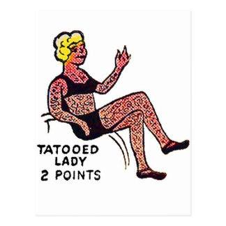 Retro Vintage Kitsch Sideshow 'Tatooed Lady' Postcard