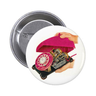 Retro Vintage Kitsch Sixties Telephone Phone Guts 2 Inch Round Button