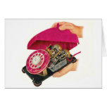 Retro Vintage Kitsch Sixties Telephone Phone Guts Greeting Cards