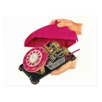 Retro Vintage Kitsch Sixties Telephone Phone Guts Postcard