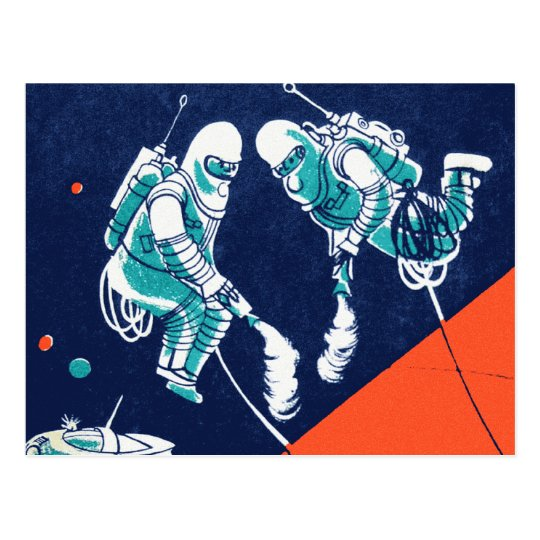 Retro Vintage Kitsch Space Astronaut Space Walking Postcard
