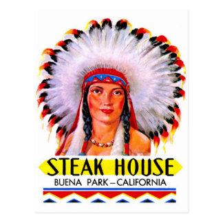Retro Vintage Kitsch Steak House Indian Princess Postcard