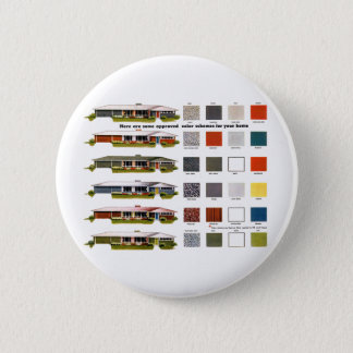 Retro Vintage Kitsch Suburbs Approved House Colors 2 Inch Round Button