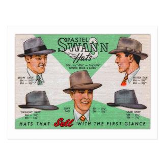 Retro Vintage Kitsch Swann Mens Hats Fedora Postcard