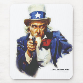 Retro Vintage Kitsch Taxes Uncle Sam with Gun Mouse Pad
