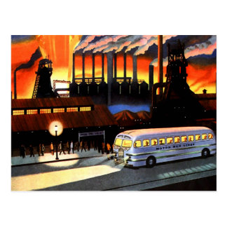 Retro Vintage Kitsch the Bus and American Industry Postcard